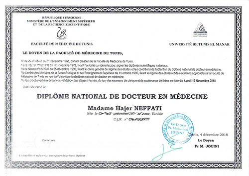 diplôme gynécologue tunisie
